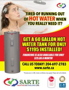 SARTE hot water tank promo 2020